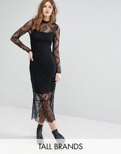 Кружевное платье миди с длинными рукавами Vero Moda Tall - Черный