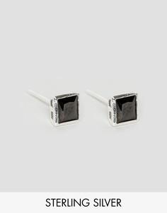 Квадратные серебряные серьги-гвоздики с черным камнем Reclaimed Vintage Inspired 5 мм - Черный