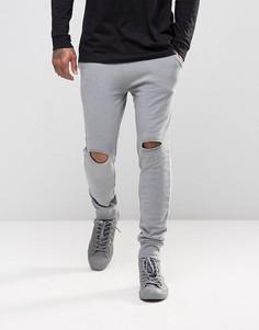 Серые супероблегающие джоггеры с рваными коленями ASOS - Серый