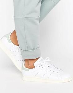 Белые кроссовки с пастельно-зеленой отделкой adidas Originals Stan Smith - Белый