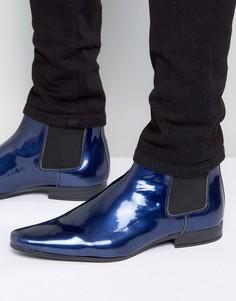 Синие лакированные ботинки челси ASOS - Синий