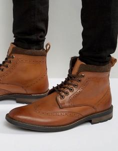 Светло-коричневые кожаные броги со шнуровкой Dune - Рыжий