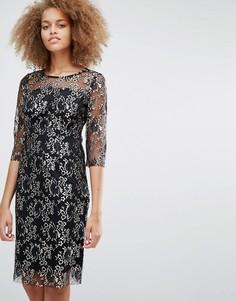 Кружевное платье миди Selected Brina - Черный