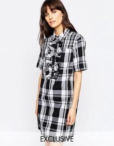 Платье-рубашка в контрастную шотландку с оборками Le Kilt for ASOS - Мульти