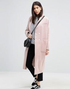 Пальто с добавлением шерсти ASOS - Розовый