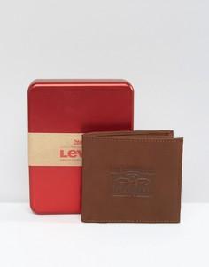 Коричневый кожаный кошелек с тиснением Levis - Коричневый