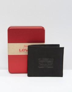 Черный кожаный кошелек с тиснением Levis - Черный