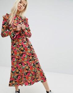 Чайное платье миди с ярким цветочным принтом STYLENANDA - Мульти