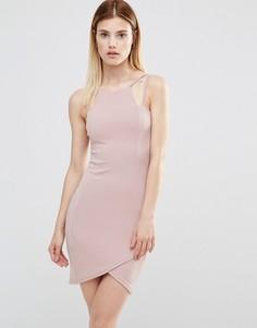Облегающее платье мини с асимметричной кромкой AX Paris - Фиолетовый