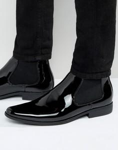 Черные лакированные ботинки челси ASOS - Черный