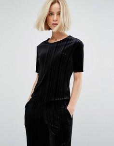 Комбинируемая бархатная футболка плиссе Moss Copenhagen - Черный