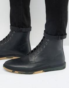 Черные кожаные ботинки на шнуровке с камуфляжной подошвой ASOS - Черный