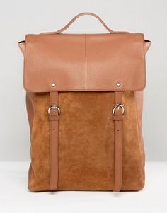 Светло-коричневый рюкзак из кожи и замши ASOS - Рыжий
