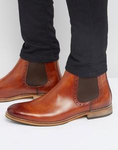 Коричневые кожаные ботинки челси с отделкой под броги ASOS - Рыжий
