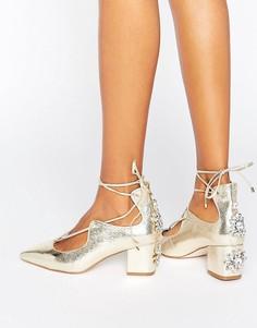 Туфли на каблуке с отделкой ASOS SALOON - Золотой