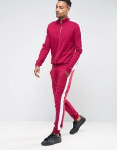 Бордовый спортивный комбинезон скинни с полосками по бокам ASOS - Красный