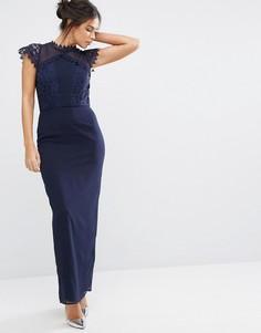 Платье макси с кружевной отделкой Elise Ryan - Темно-синий
