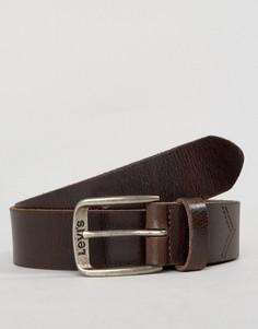 Коричневый классический кожаный ремень Levis - Коричневый