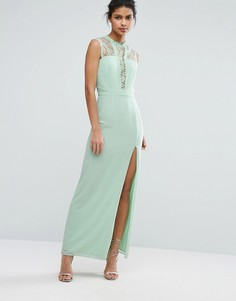 Платье макси без рукавов с кружевной отделкой Elise Ryan - Зеленый