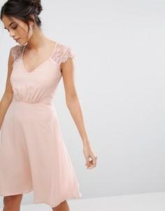 Платье миди с V-образным вырезом и кружевными рукавами Elise Ryan - Розовый