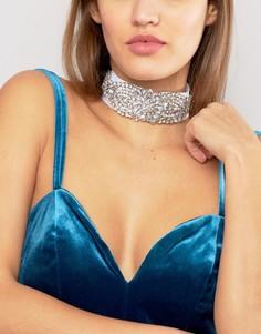 Кружевное ожерелье-чокер со стразами Johnny Loves Rosie - Серебряный