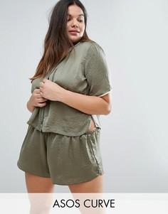 Пижамный топ с атласной окантовкой и шорты ASOS CURVE Miley - Зеленый