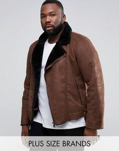 Байкерская куртка из искусственной овчины Barneys PLUS - Коричневый Barneys Originals