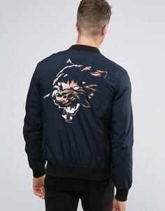 Бомбер с вышитым тигром на спине Religion Souvenir - Темно-синий