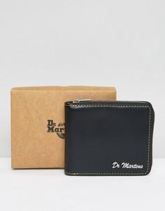 Кожаный бумажник на молнии с желтой декоративной строчкой Dr Martens - Черный