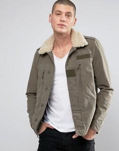 Куртка с меховым воротником AllSaints - Зеленый