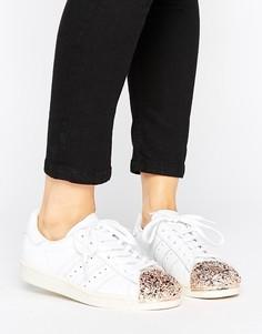 Белые кроссовки в стиле 80-х с золотисто-розовым 3D носком adidas Originals Superstar - Белый