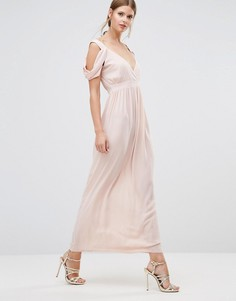 Платье макси с драпированной отделкой на плечах Oh My Love - Розовый