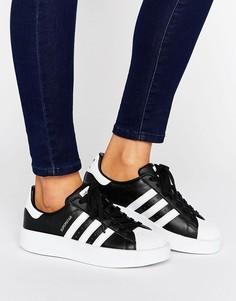 Черно-белые кроссовки с двойной подошвой adidas Originals Superstar - Черный ba2837d64e2