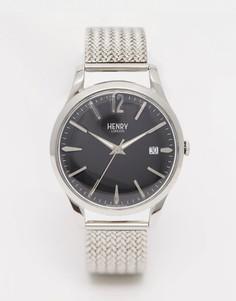 Серебряные наручные часы с плетеным дизайном ремешка Henry London Edgeware - Серебряный