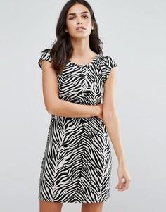 Цельнокройное платье со звериным принтом Jasmine - Черный