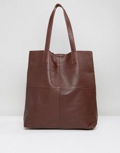 Кожаная сумка-тоут Selected - Коричневый