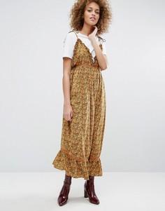 Платье на бретельках с завязками и цветочным принтом STYLENANDA - Желтый