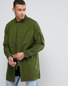 Длинный зеленый бомбер Nike FC 831159-331 - Зеленый