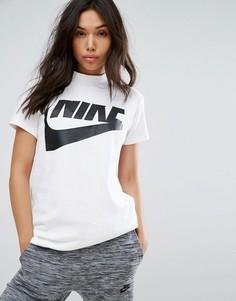 Белый удлиненный топ с высокой горловиной Nike - Белый