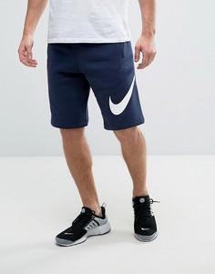 Синие трикотажные шорты с большим логотипом Nike 843520-451 - Синий