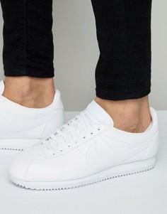 Мужские белые кожаные классические кроссовки Nike Cortez 749571-111 - Белый