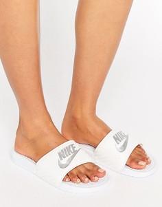 Белые шлепанцы с логотипом Nike Benassi - Черный