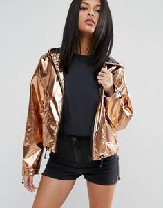 Укороченная куртка металлик ASOS - Золотой