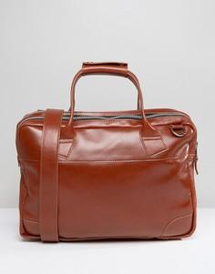 Большая кожная сумка на молнии для ноутбука Royal RepubliQ Nano - Рыжий