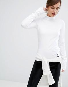 Белый топ с высокой горловиной и супердлинными рукавами Puma - Белый