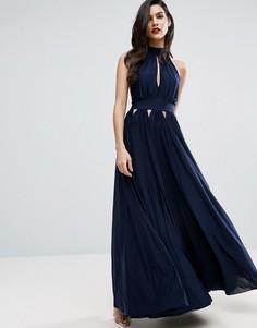 Плиссированное платье макси с халтером и вырезами ASOS - Темно-синий