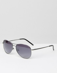 Солнцезащитные очки-авиаторы в серебристой оправе Ted Baker - Серебряный