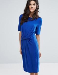 Трикотажное платье с узлом Selected - Синий