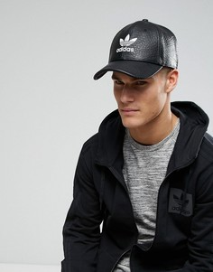 Черная кепка из искусственной кожи с трилистником adidas Originals BK6967 - Черный