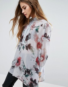 32bb5390f4b Прозрачная рубашка без воротника с цветочным принтом Religion - Серый